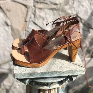 Vintage brown leather sandal heels, 7.5/8